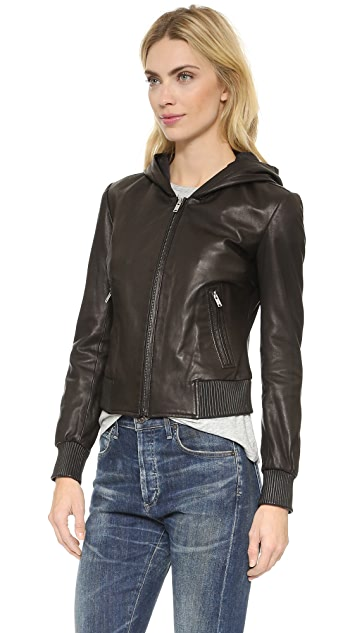 June Hooded Leather Jacket