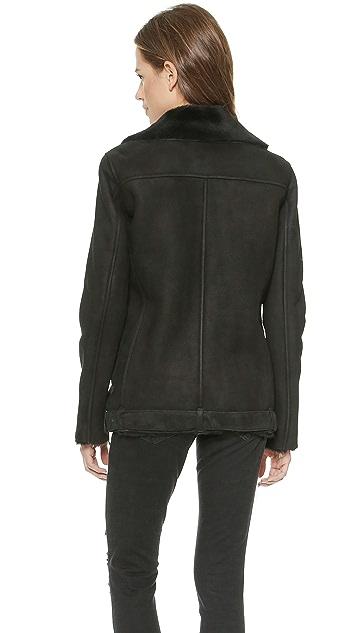 Just Female Chin Shearling Moto Jacket