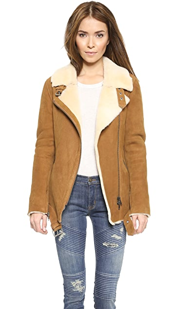 Just Female Chin Shearling Suede Jacket