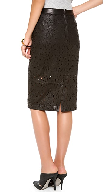 Kaelen Laser Cut Leather Skirt