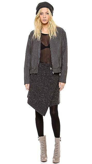 Kaelen Flecked Wool Wrap Skirt