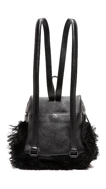 KARA Long Shearling Small Backpack