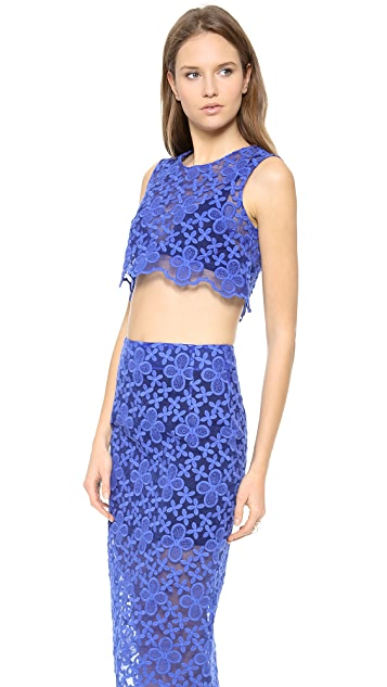Karla Spetic Floral Embroidered Organza Crop Top