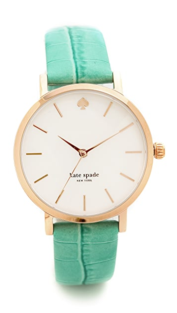 Kate Spade New York Rio Embossed Croc Metro Watch