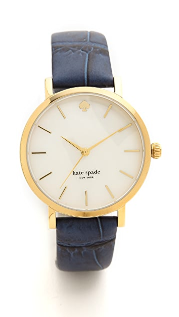 Kate Spade New York Blue Embossed Croc Metro Watch