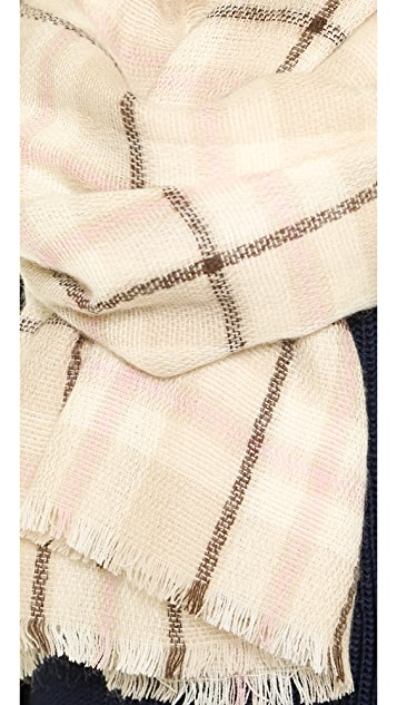 Kate Spade New York Transcontinental Express Plaid Blanket Scarf