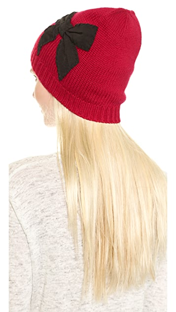 Kate Spade New York Sugar Plum Stiched Bow Slouched Beanie