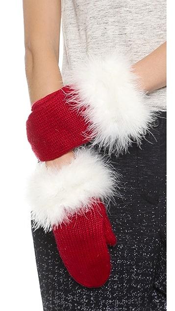 Kate Spade New York Santa Mittens With Marabou Pom