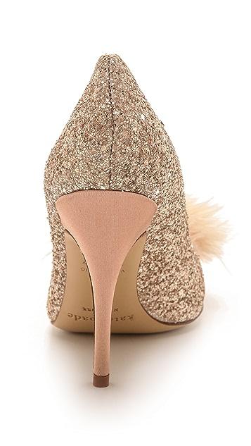 Kate Spade New York Lilo Marabou Glitter Pumps