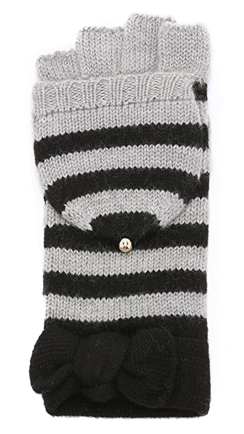 Kate Spade New York Modern Heritage Stripe Pop Top Mittens