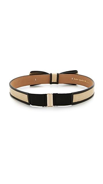 Kate Spade New York Straw Panel Bow Belt