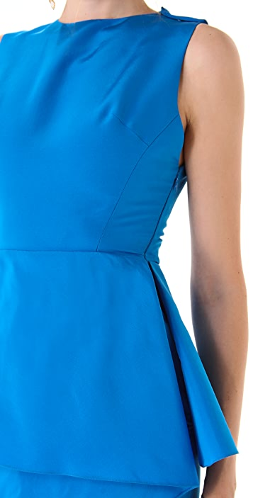Katie Ermilio Wrapped Peplum Mini Dress