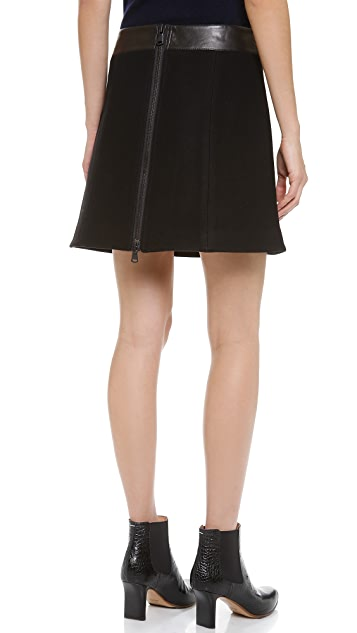 KAUFMANFRANCO Glazed Leather Front Skirt