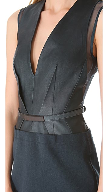 KAUFMANFRANCO Low V Belted Dress