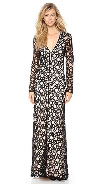 KAUFMANFRANCO Circular Tattoo Long Sleeve Gown