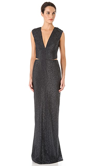 KAUFMANFRANCO Sequins Cap Sleeve Gown