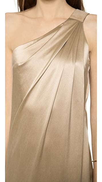KAUFMANFRANCO One Shoulder Silk Gown
