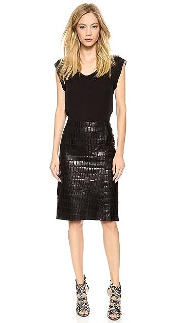 KAUFMANFRANCO Croc Embossed Leather Skirt