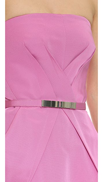 KAUFMANFRANCO Strapless Belted Tulip Dress