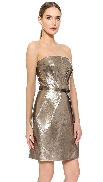 KAUFMANFRANCO Liquid Sequin Belted Tulip Dress