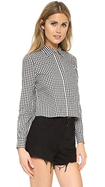 KENDALL + KYLIE Long Sleeve Open Back Button Up