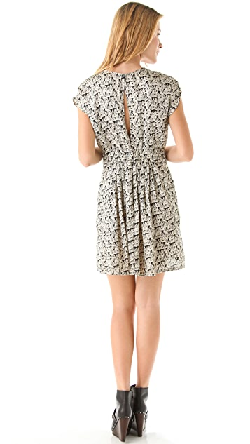 Kenny Printed Slit Back Dress with Pockets