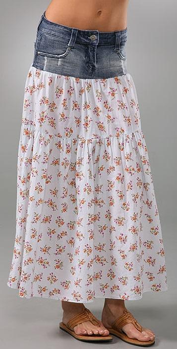 Kettle Black Long Denim Floral Skirt
