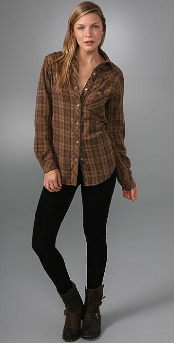 Kettle Black Plaid Boyfriend Shirt