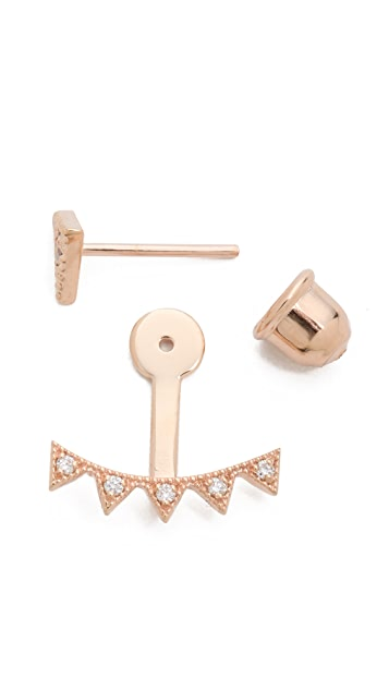 Kismet by Milka Crown Ear Jacket Earring