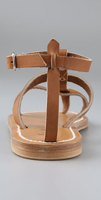 K. Jacques Gina Flat Sandals with Two Bands