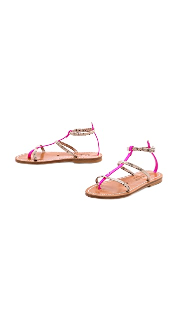 K. Jacques Gina Neon Flat Sandals