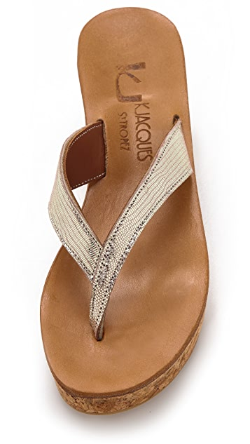 K. Jacques Diorite Wedge Thong Sandals