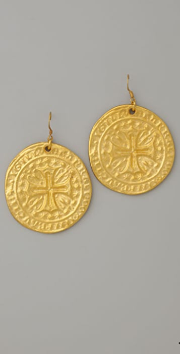 Kenneth Jay Lane Coin Earrings