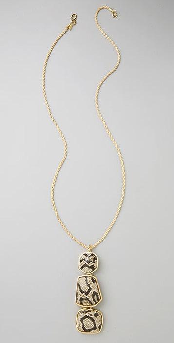 Kenneth Jay Lane Snake Print Pendant Necklace
