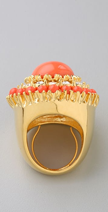 Kenneth Jay Lane Coral Cabochon Ring