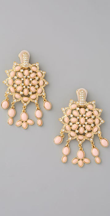 Kenneth Jay Lane Fancy Clip On Drop Earrings