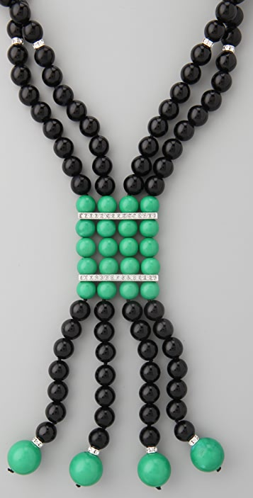 Kenneth Jay Lane Jade Drop Deco Necklace