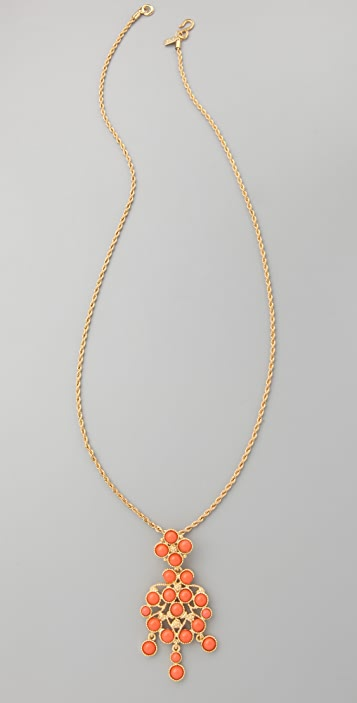 Kenneth Jay Lane Coral Drop Pendant Necklace