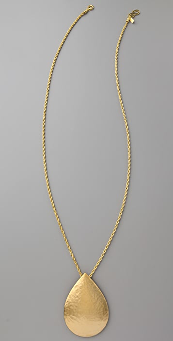 Kenneth Jay Lane Satin Gold Drop Pendant Necklace