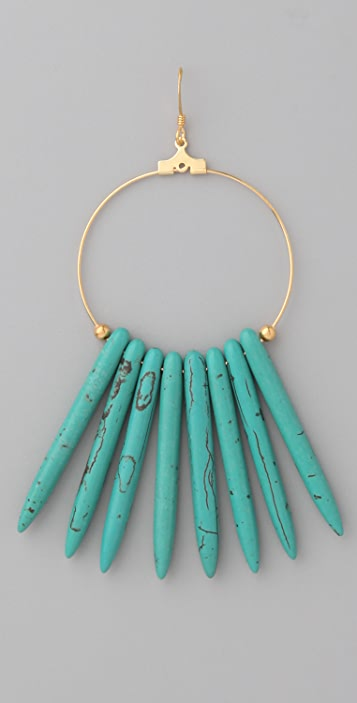 Kenneth Jay Lane Turquoise Hoop Earrings