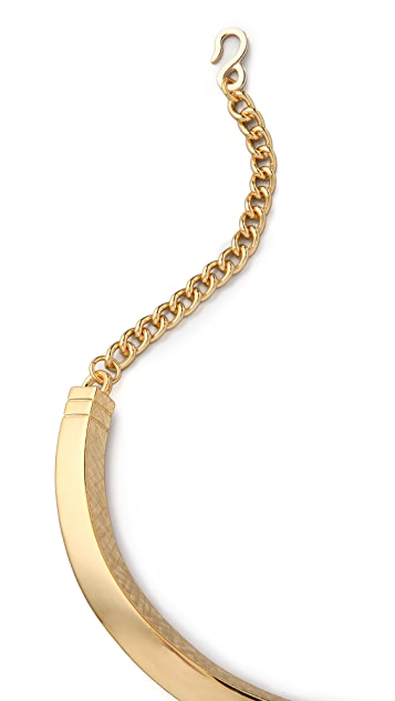 Kenneth Jay Lane Chain Textured Bib Necklace