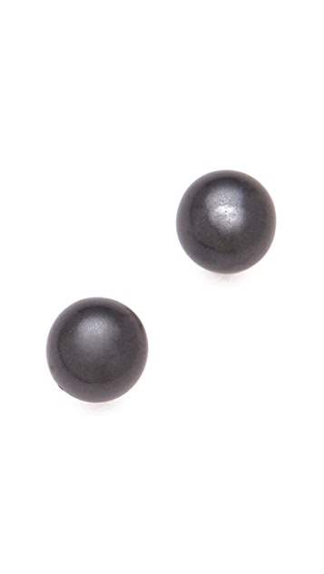 Kenneth Jay Lane Hematite Pearl Post Earrings