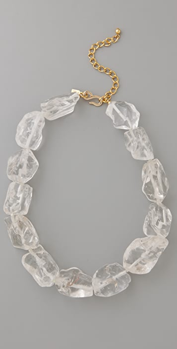 Kenneth Jay Lane Crystal Natural Rock Gold Chain Necklace