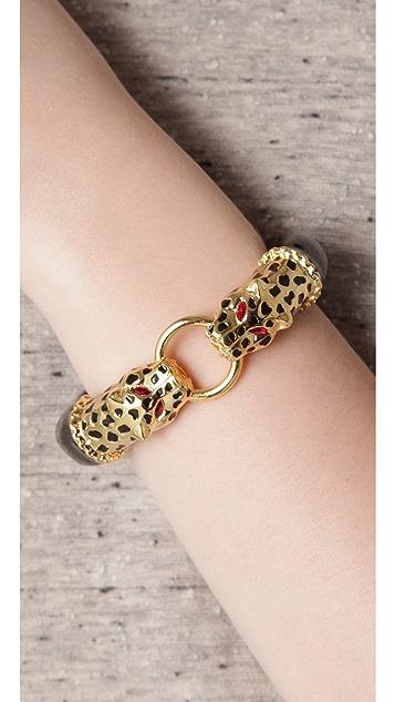 Kenneth Jay Lane Double Leopard Head Bracelet