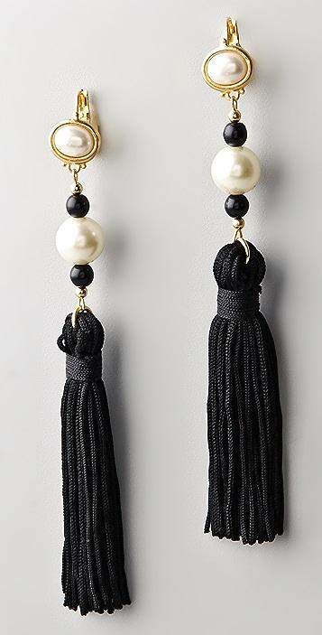 Kenneth Jay Lane Pearl Top Tassel Earrings