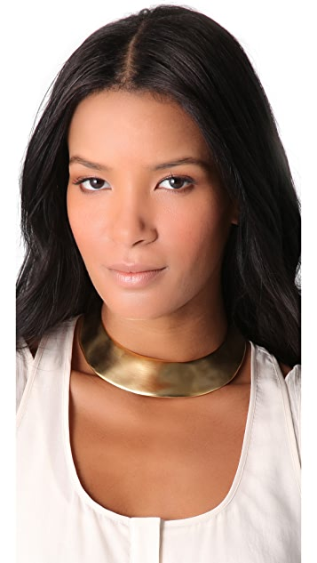 Kenneth Jay Lane Satin Gold Hinged Collar