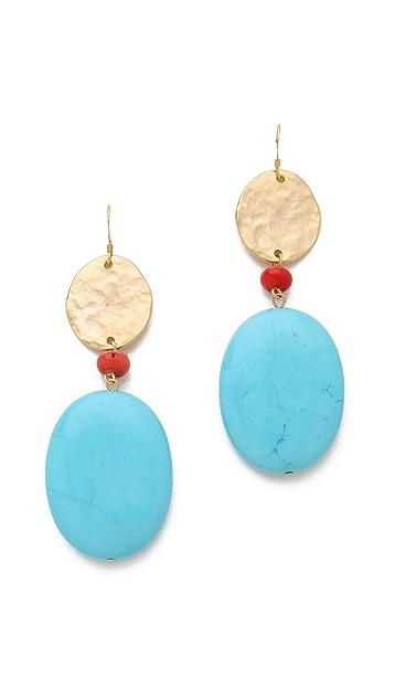 Kenneth Jay Lane Satin Gold Coin & Stone Earrings