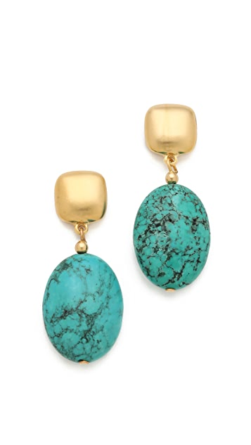 Kenneth Jay Lane Turquoise Bead Drop Earrings