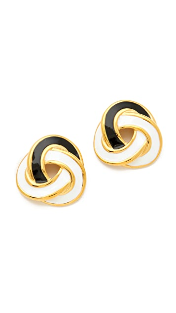 Kenneth Jay Lane Enamel Twist Stud Earrings