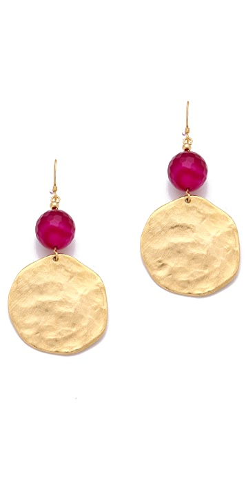 Kenneth Jay Lane Cherry Agate & Gold Coin Earrings